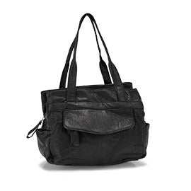 Lds black triple crossbody shoulder bag