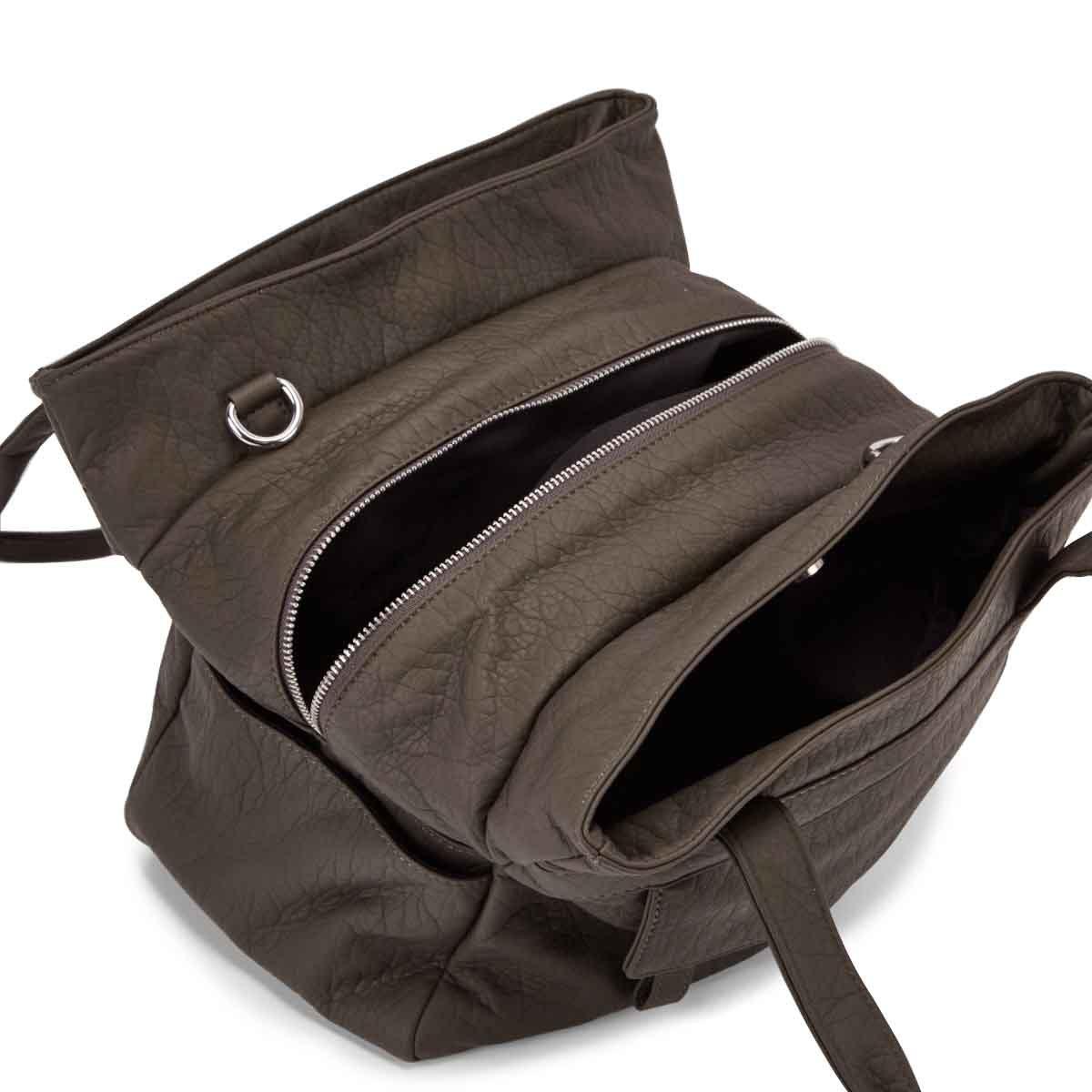 Lds khaki triple crossbody shoulder bag