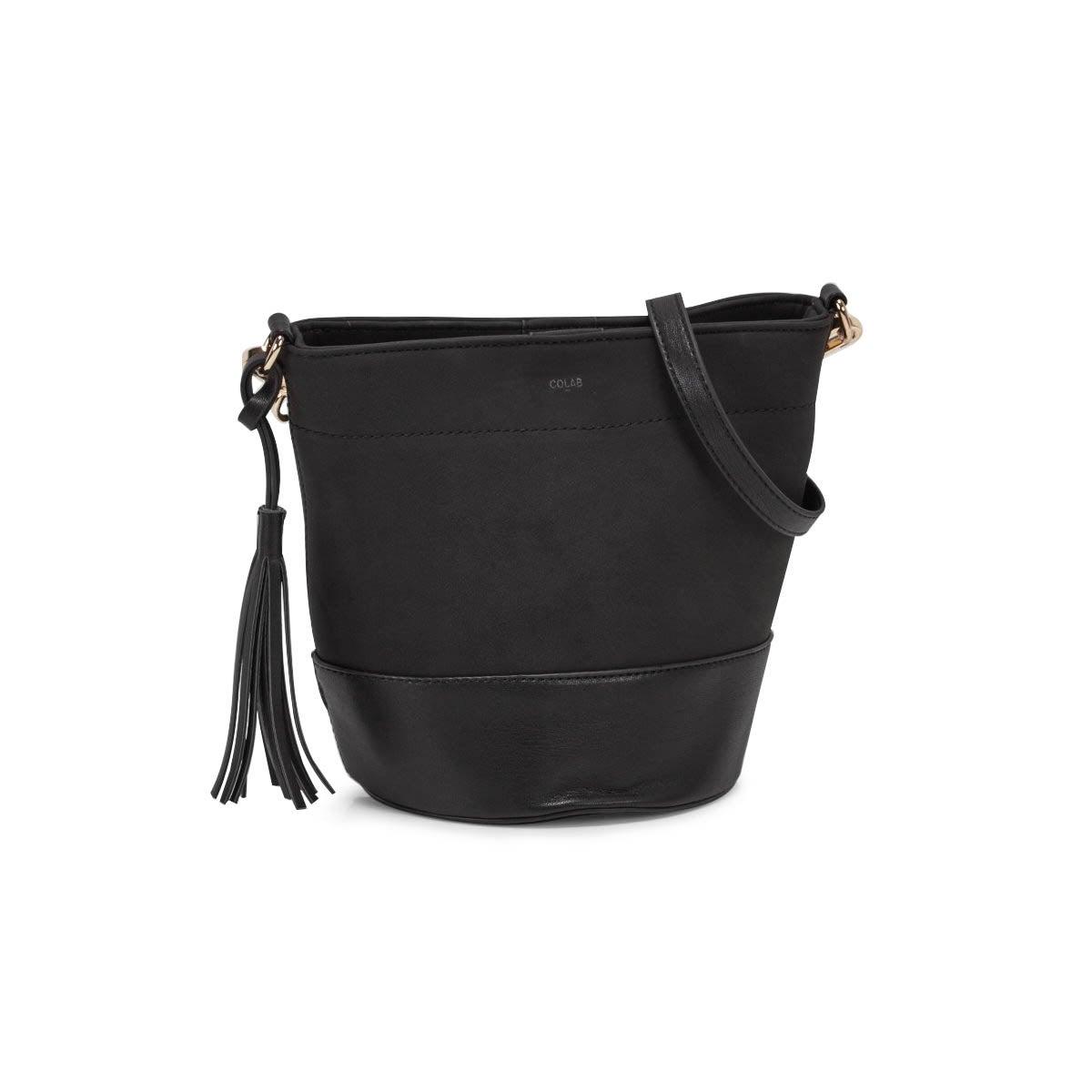 Lds black small bucket crossbody bag