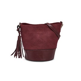Lds wine small bucket crossbody bag