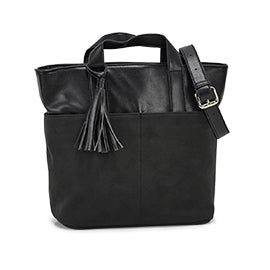 Co-Lab Women's 6139 black tassle tote bag