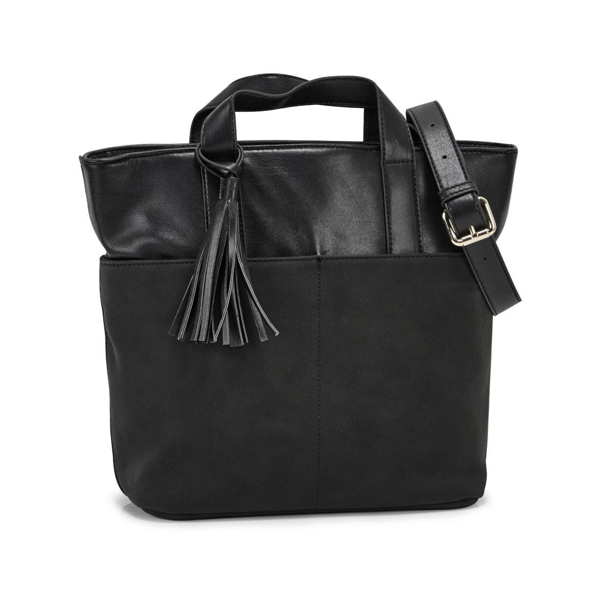 Lds black tassle detail tote bag