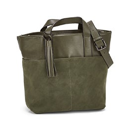 Co-Lab Women's 6139 olive tassle tote bag