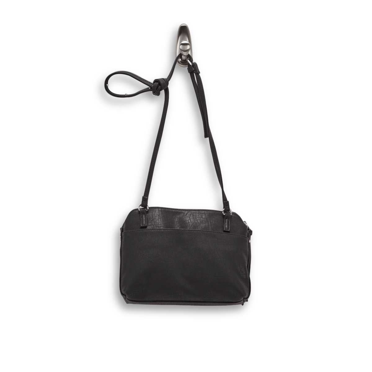 Lds black top zip cross body bag
