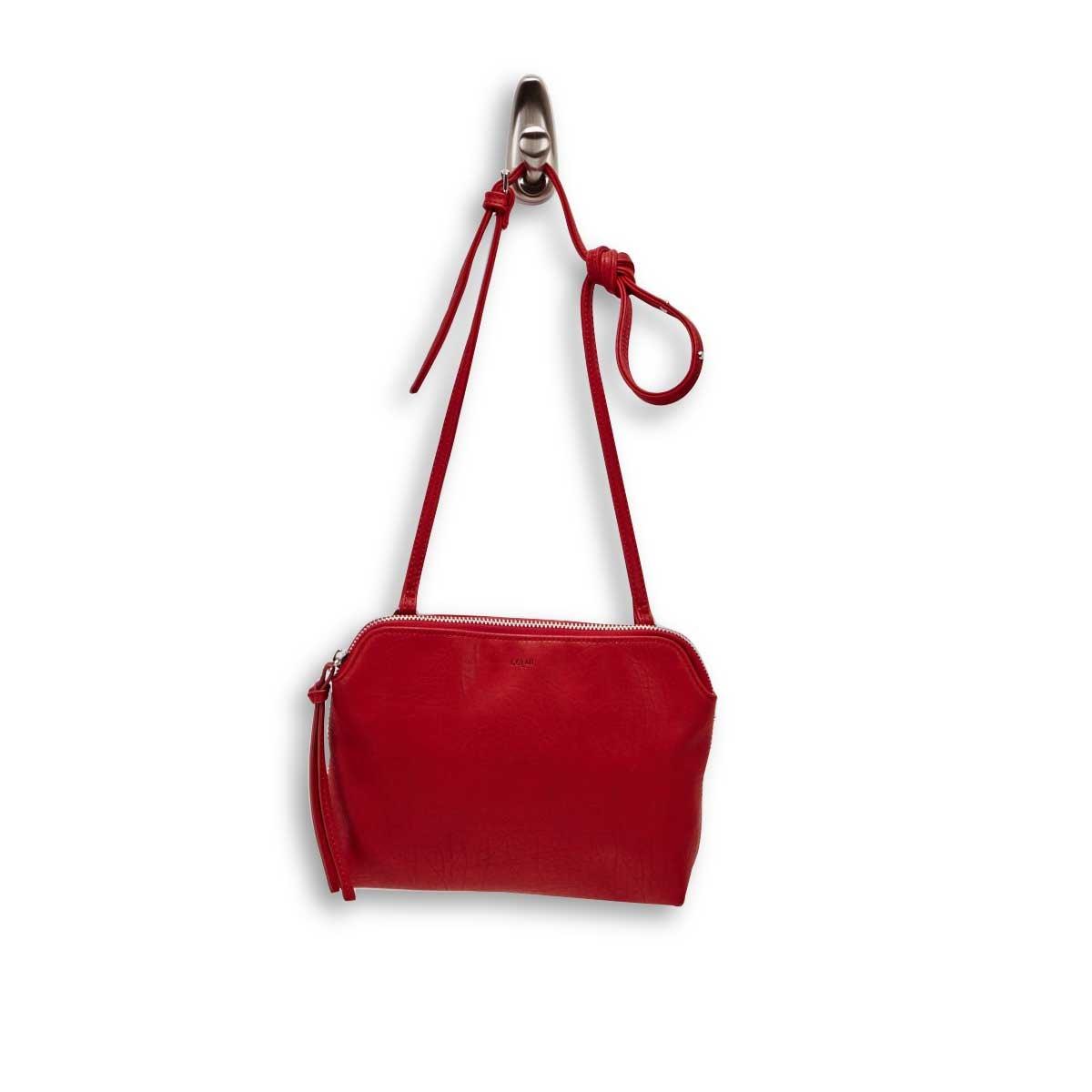 Lds red top zip cross body bag
