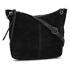 Lds whipstitch black hobo/crossbody bag
