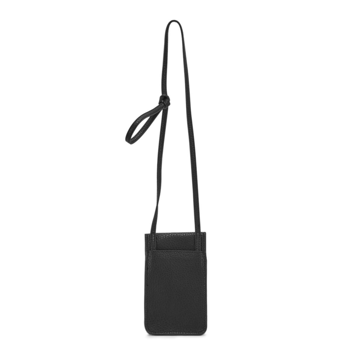 Lds black flap tech crossbody bag