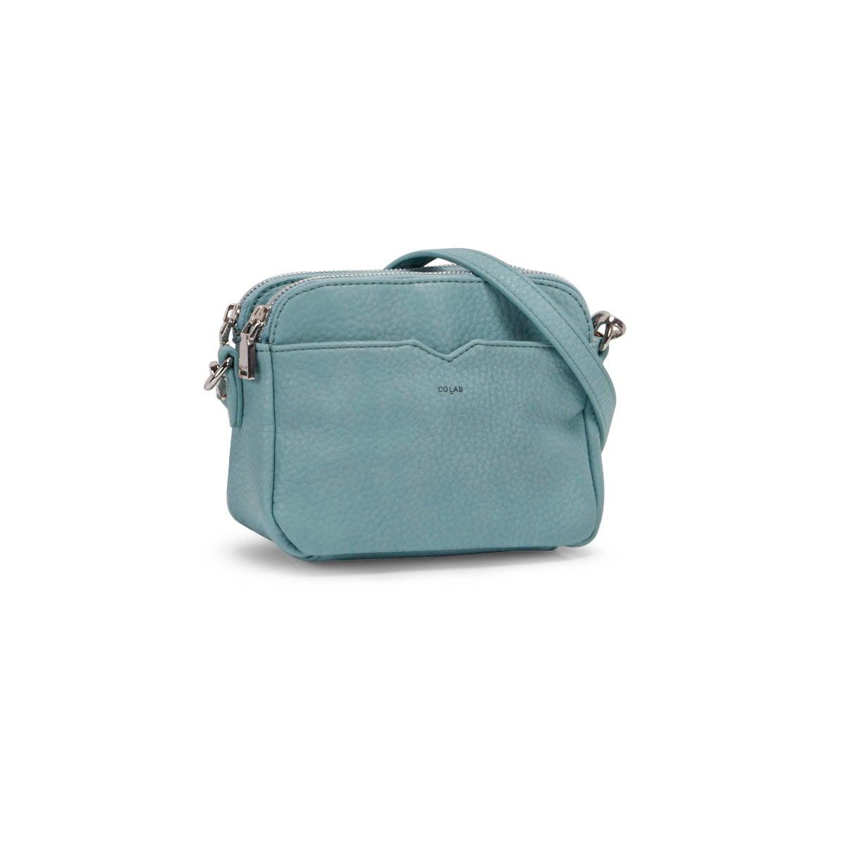 Lds aqua double crossbody bag