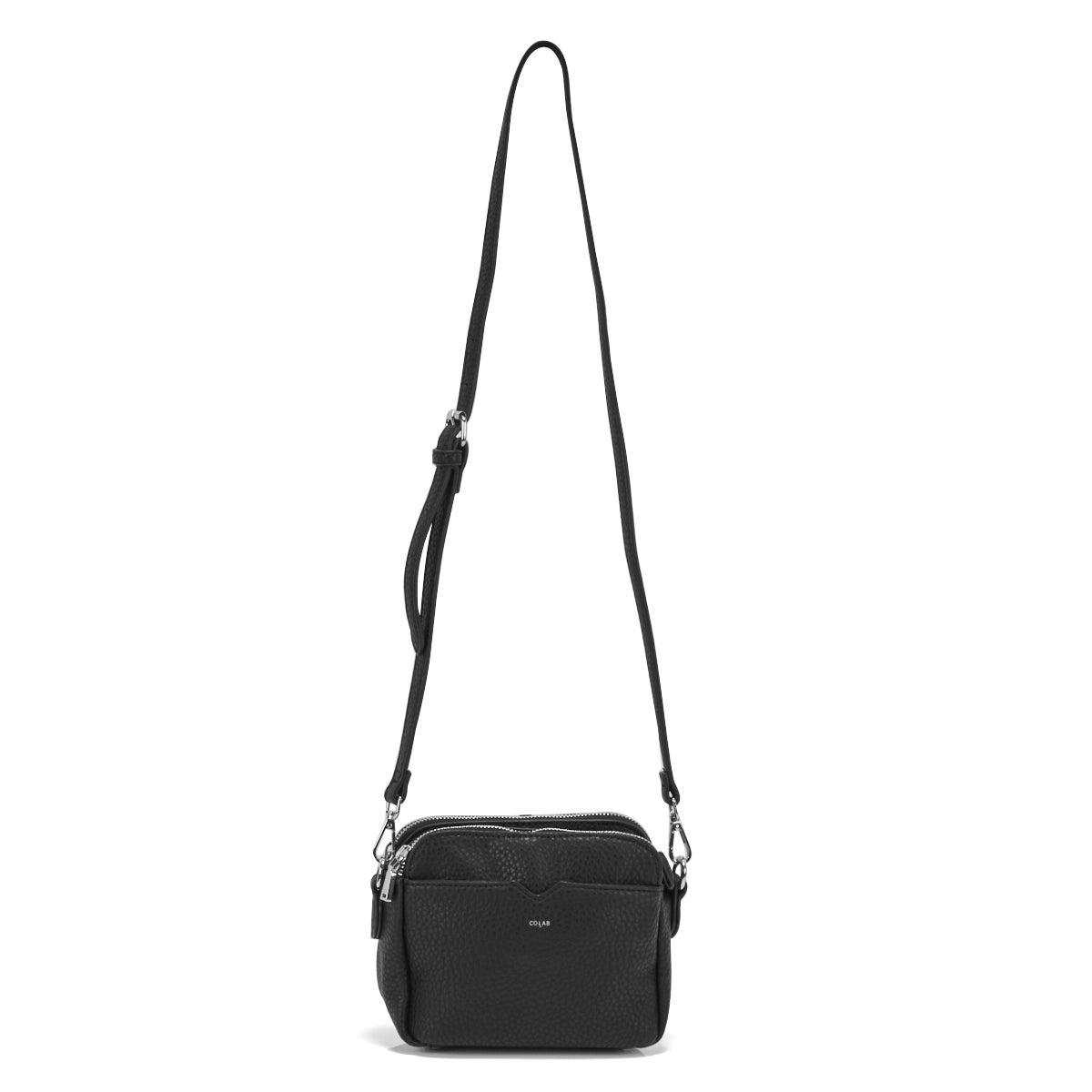 Lds black double crossbody bag