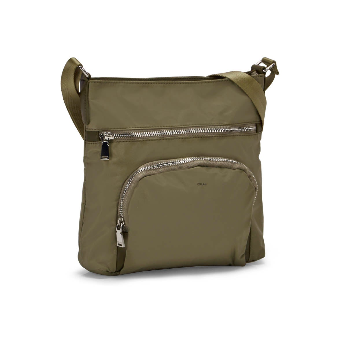 Lds khaki medium top zip crossbody bag
