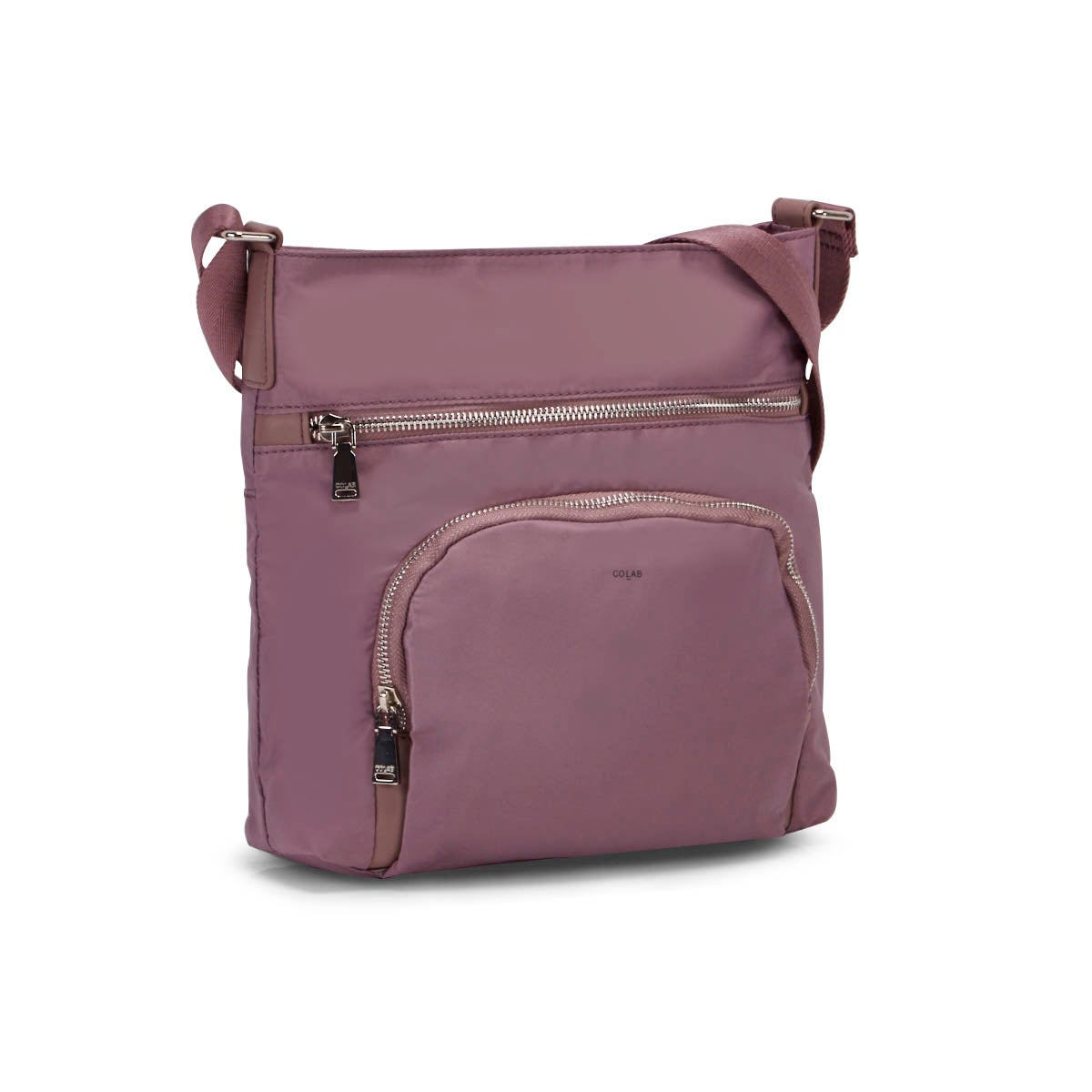 Lds mauve medium top zip crossbody bag