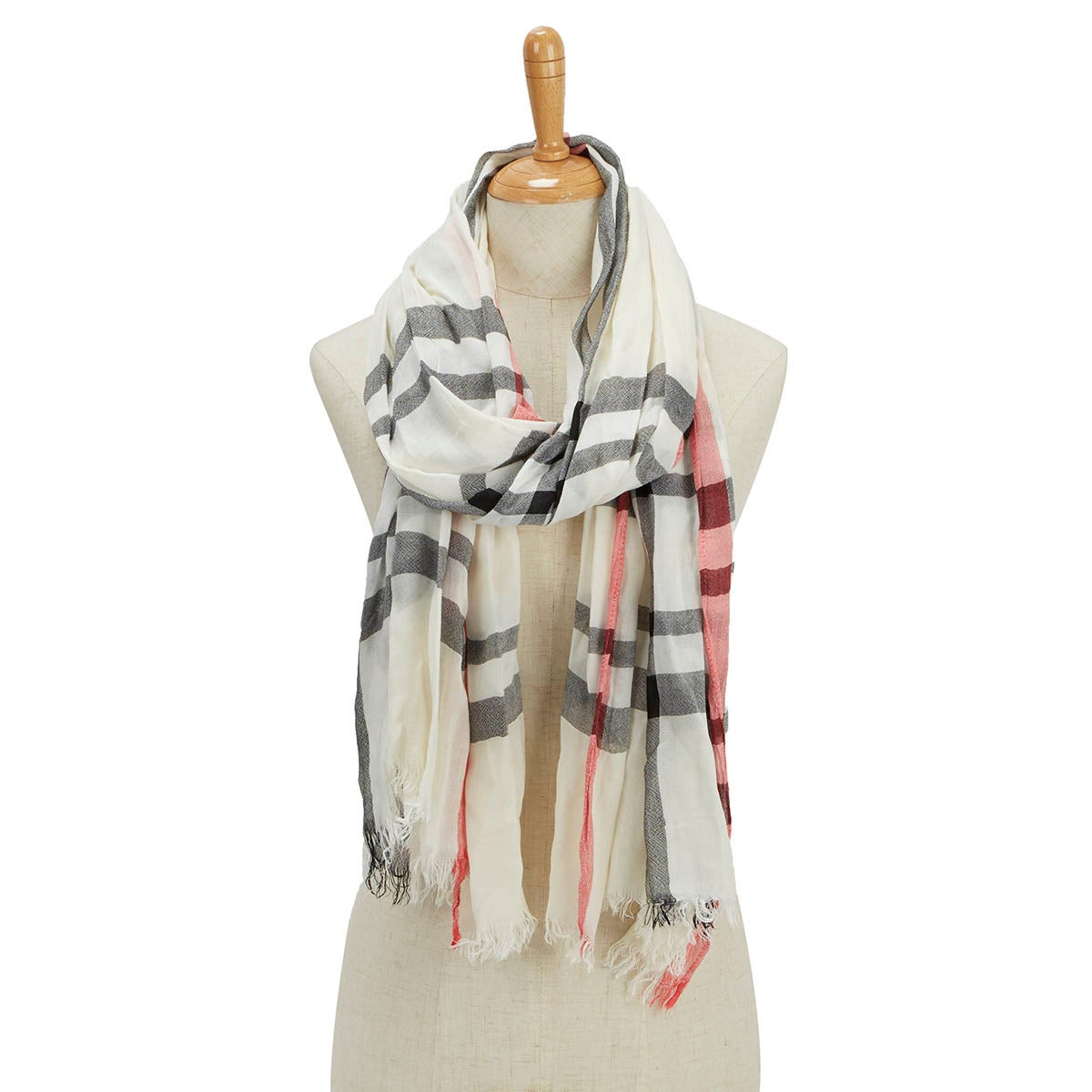 Lds Essentials Fraas Plaid cream scarf