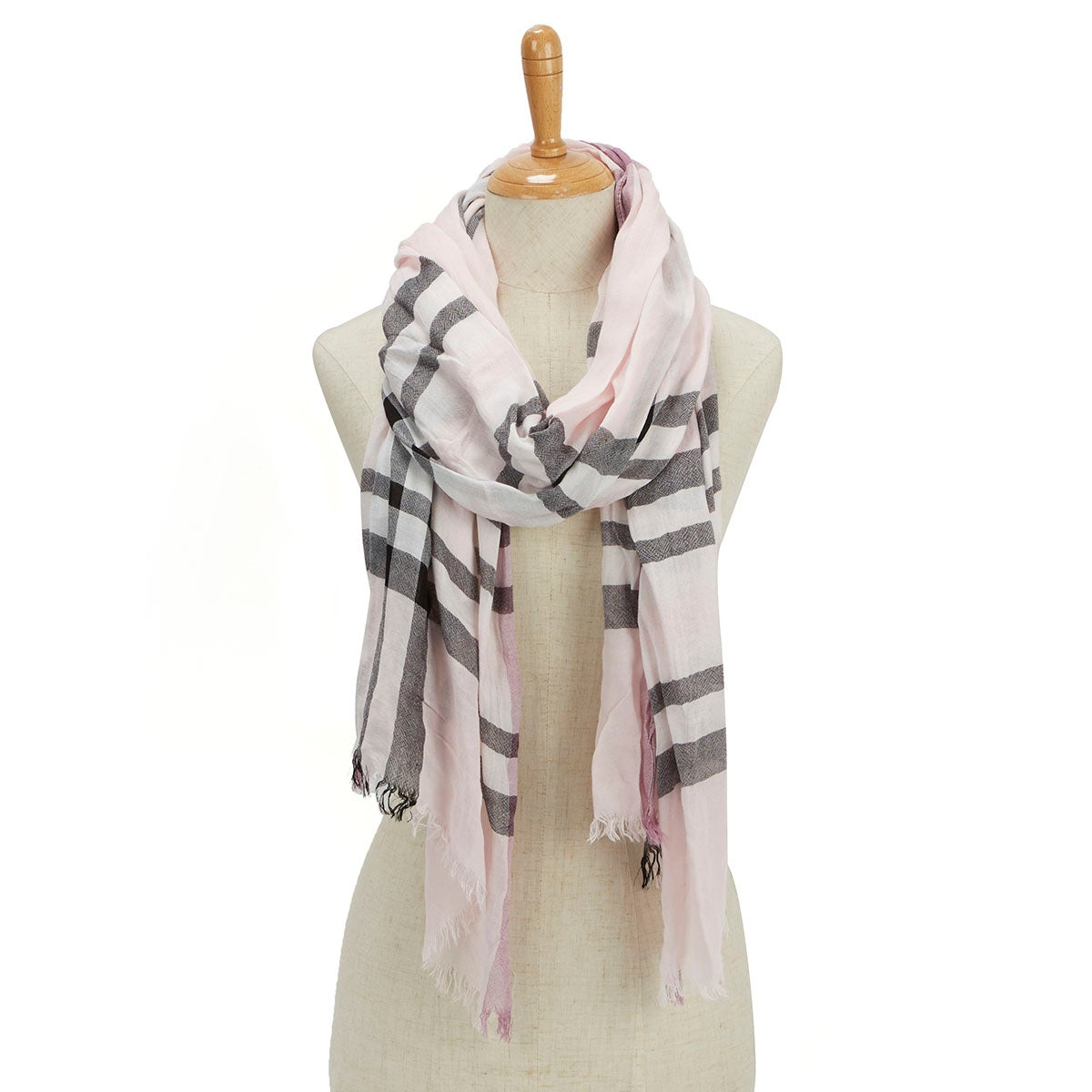 Lds Essentials Fraas Plaid lt rose scarf