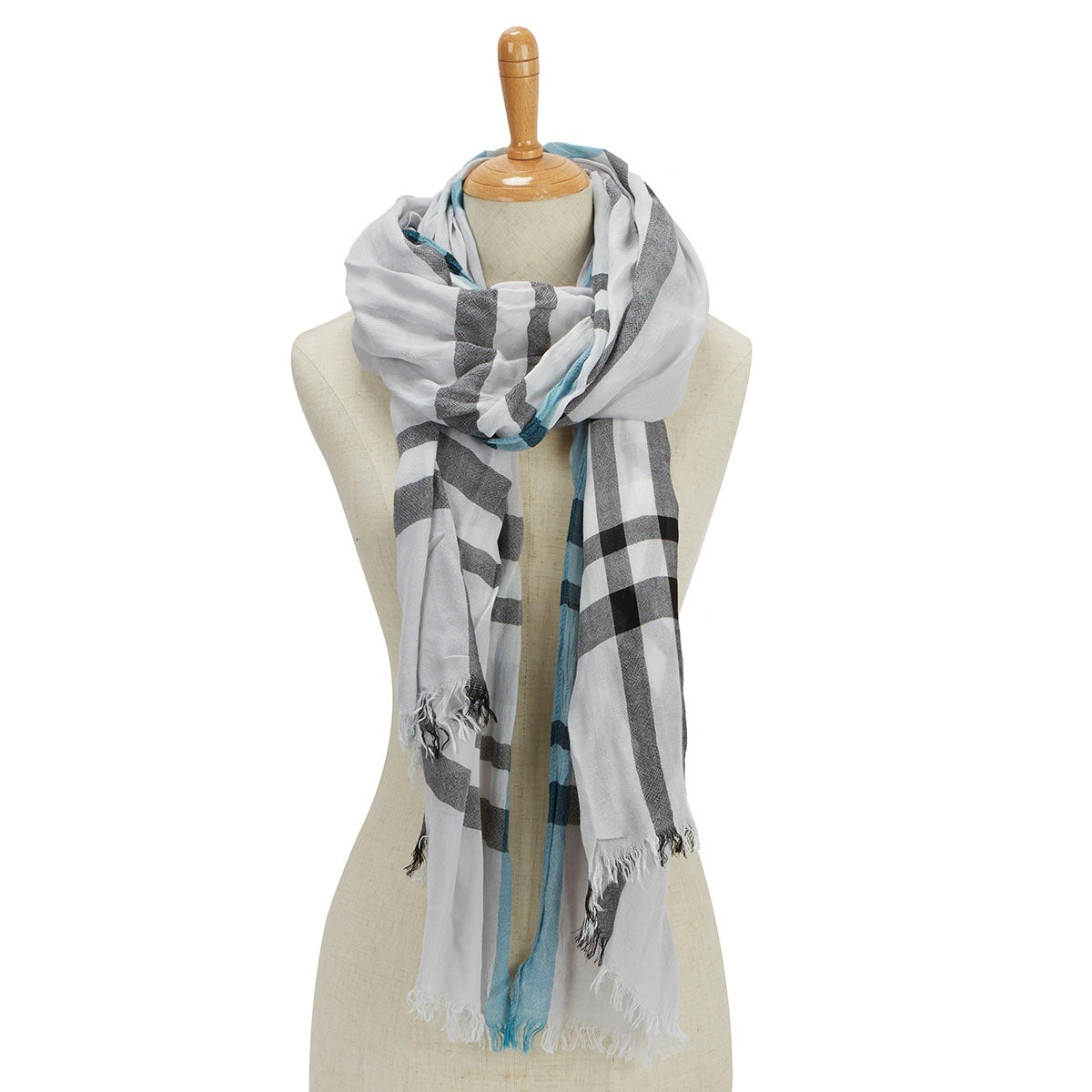 Lds Essentials Fraas Plaid lt grey scarf