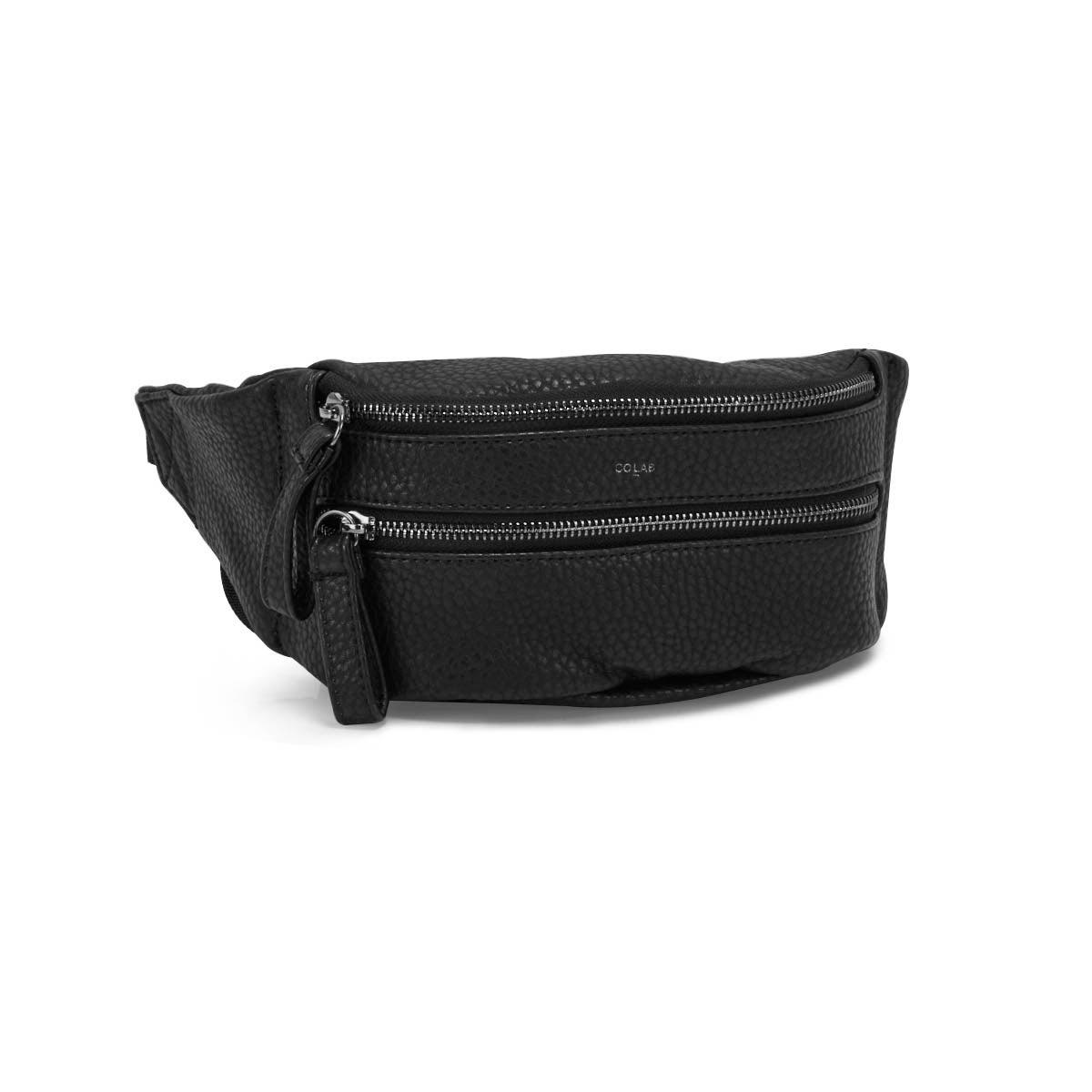 Lds blk pebble adjustable waist pouch