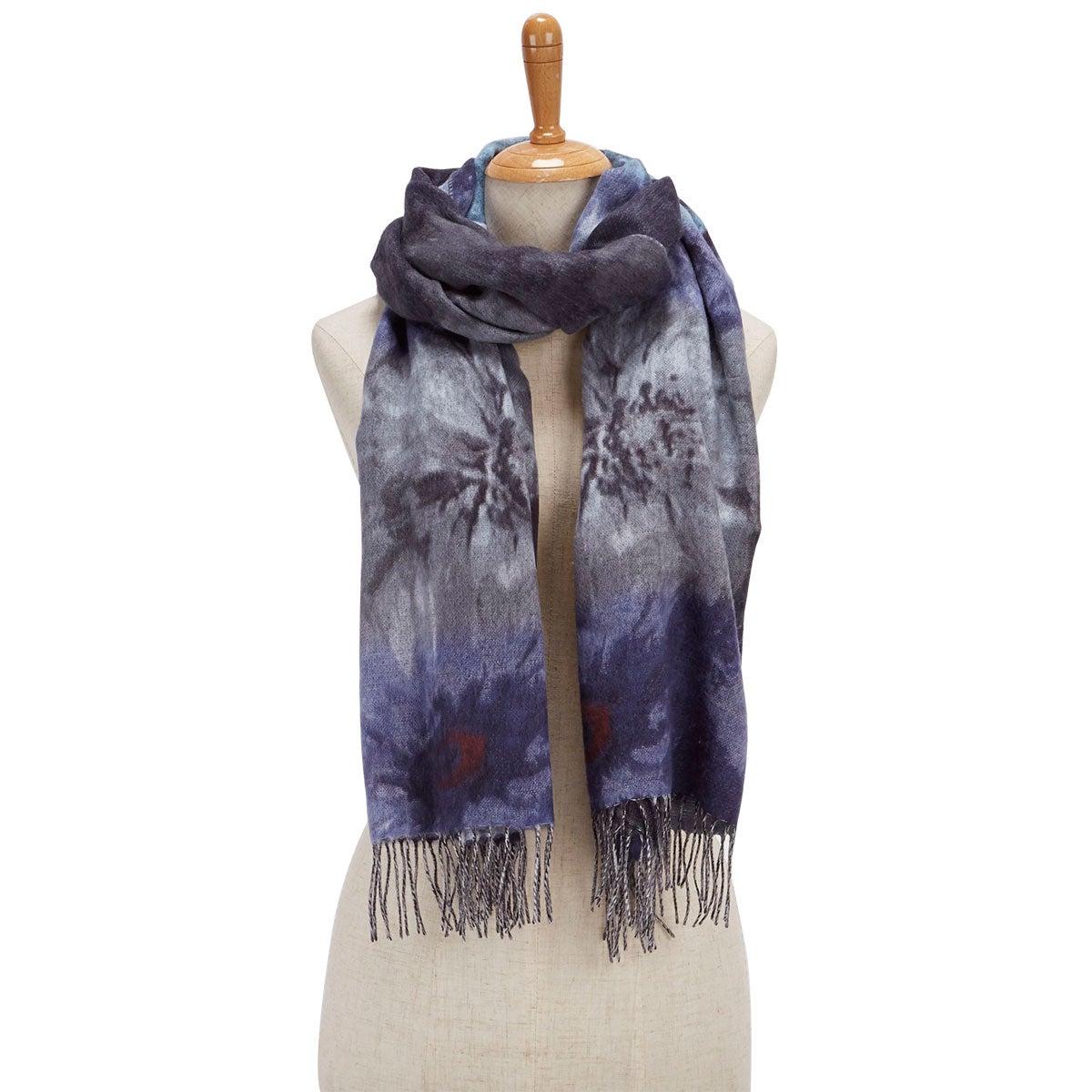 Lds Floral Bouquet denim scarf