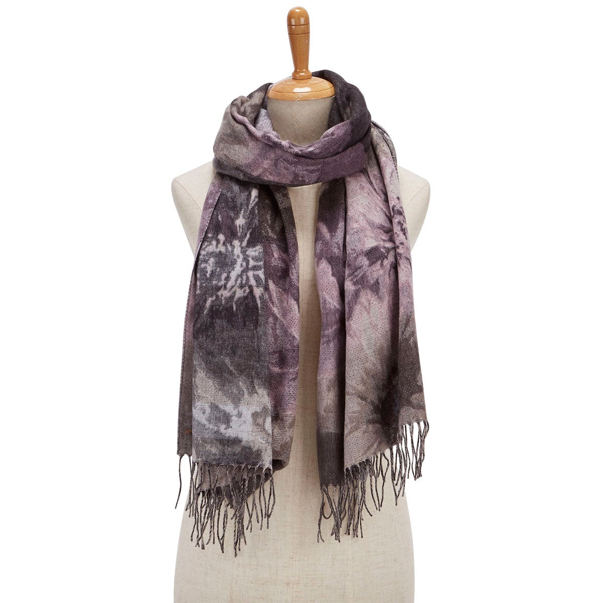 Lds Floral Bouquet taupe scarf