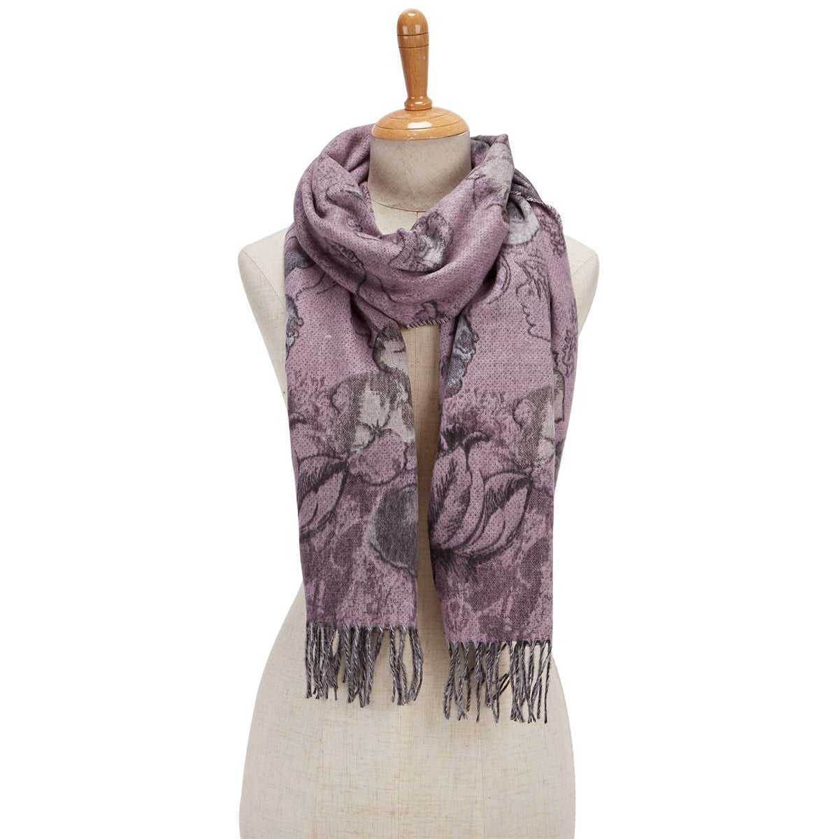 Lds Romantic Floral light rose scarf