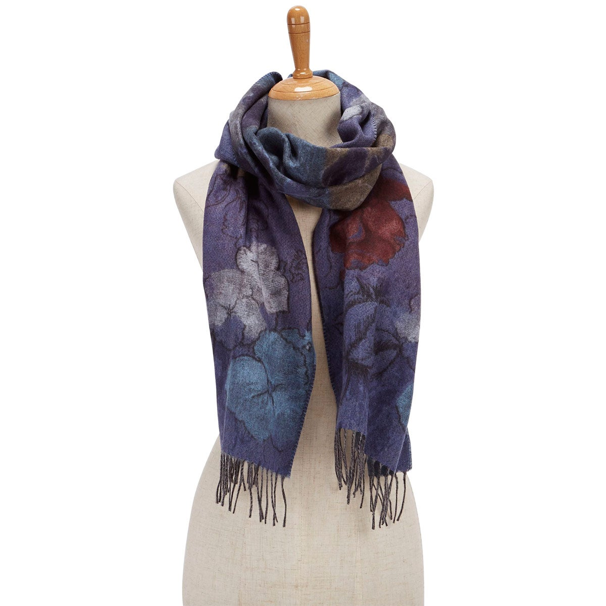 Lds Romantic Floral denim scarf