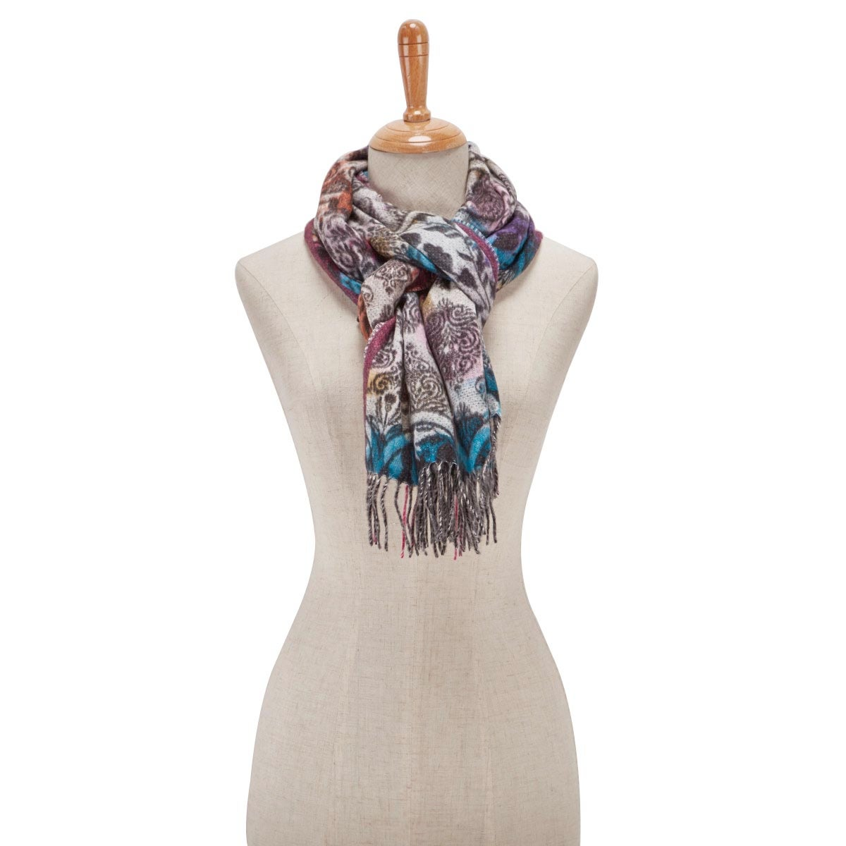 Lds Oppulent Scroll pink multi scarf