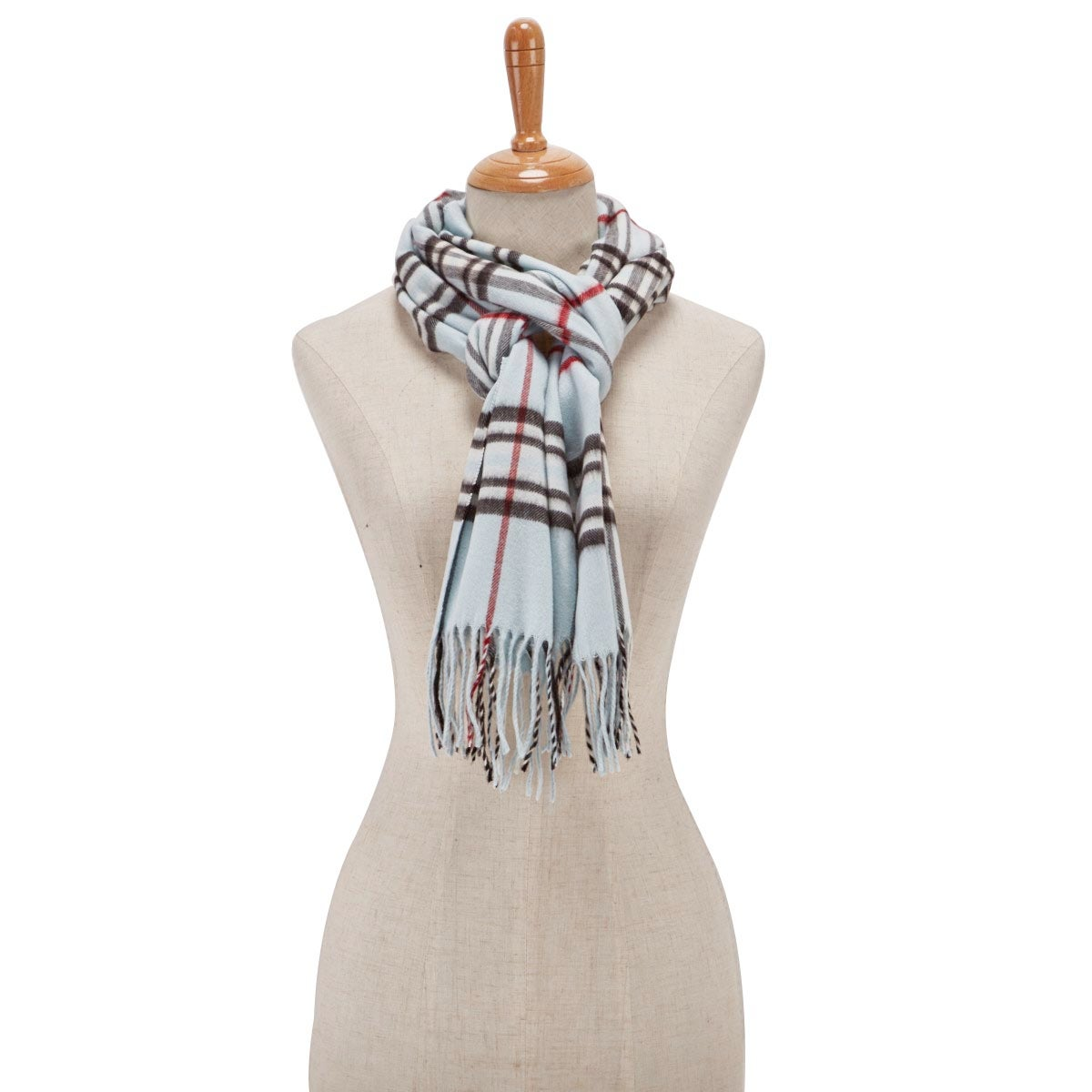 Lds Fraas Plaid light blue scarf
