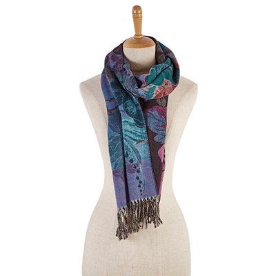 Lds Botanical blk/fuchsia scarf