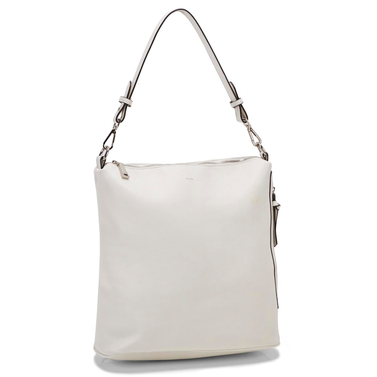 Lds white convertible hobo bag