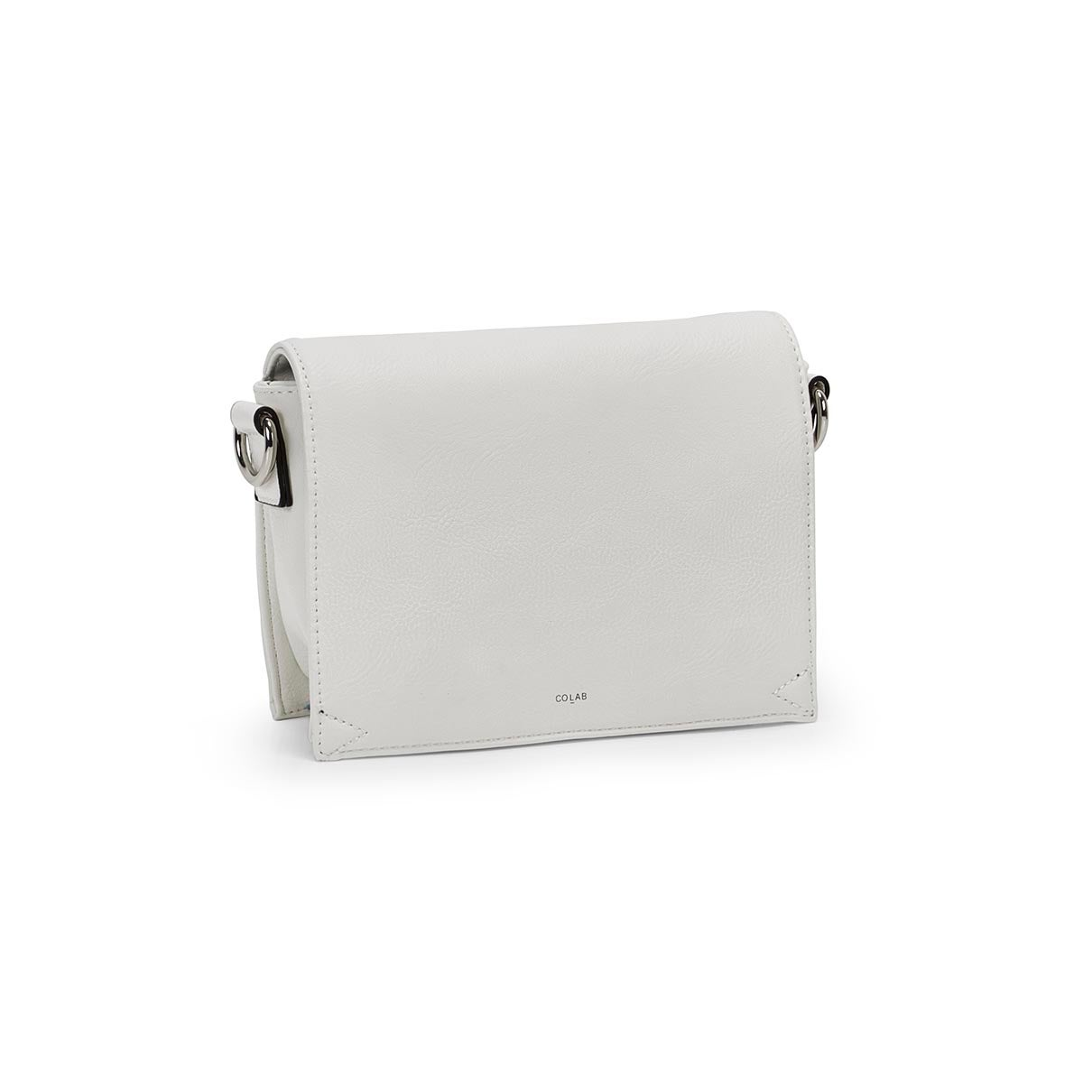 Lds white front flap crossbody bag