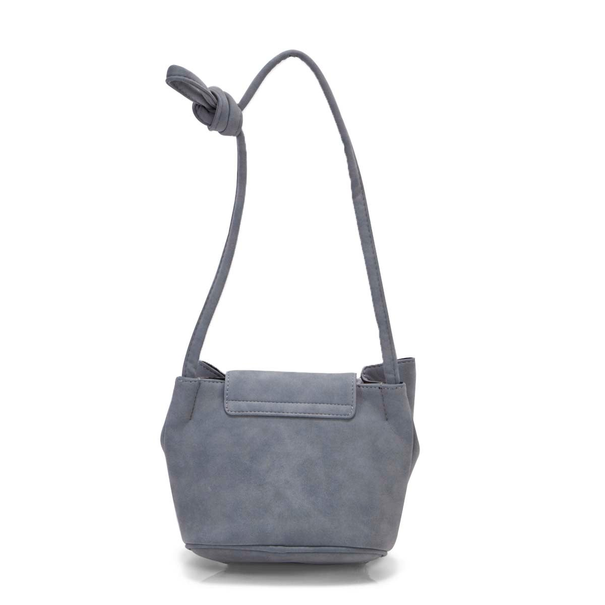 Lds blue top zip front flap cross body