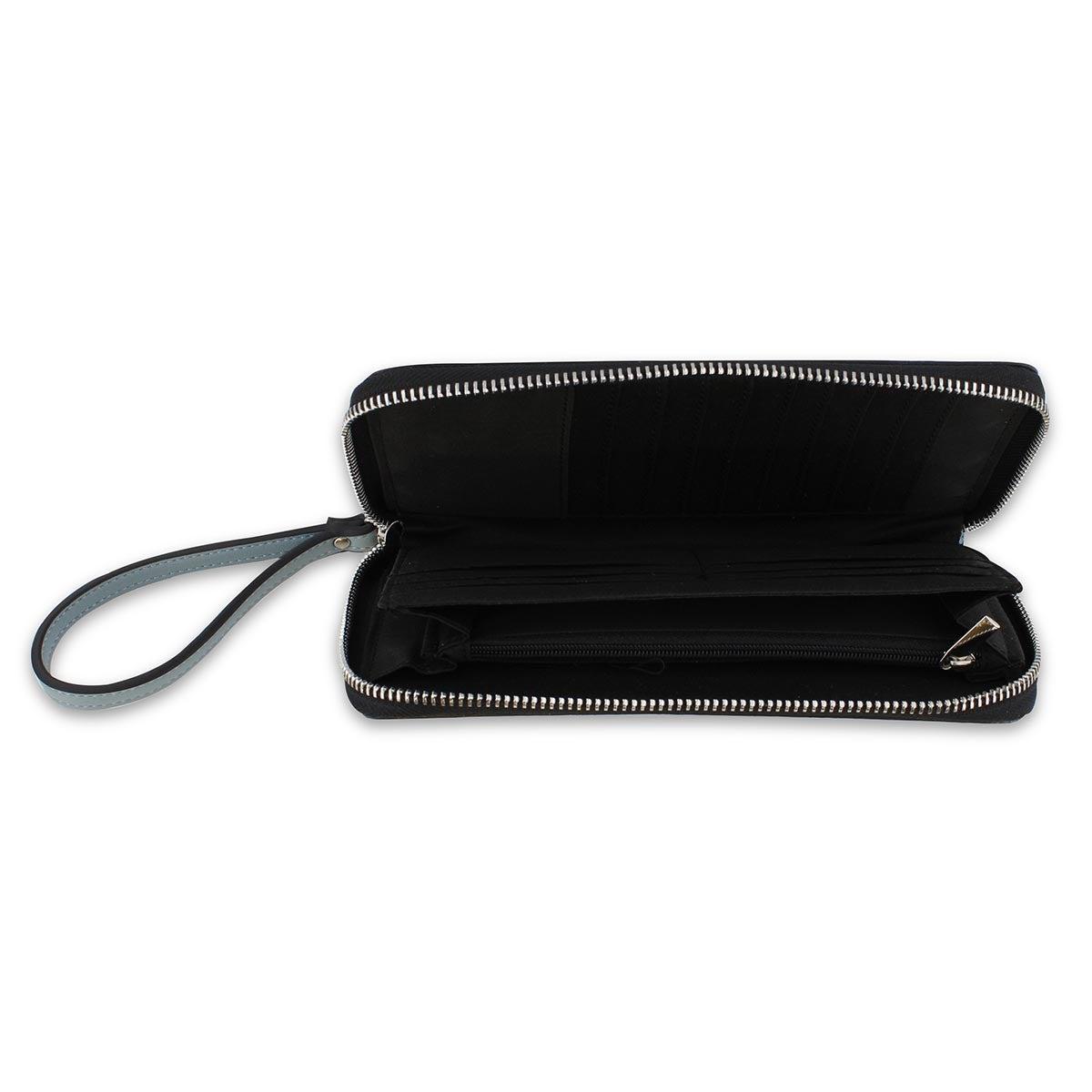 Lds pool blue zip up phone wallet