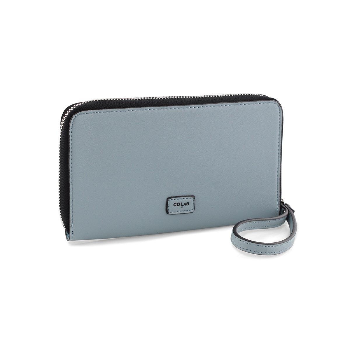 Portefeuille-portable, bleu piscine, fem
