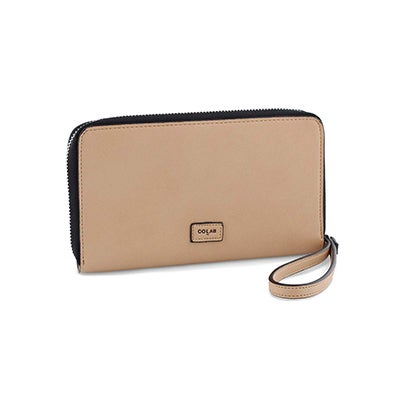 Co-Lab Women's 6267 bisque zip up phone wallet