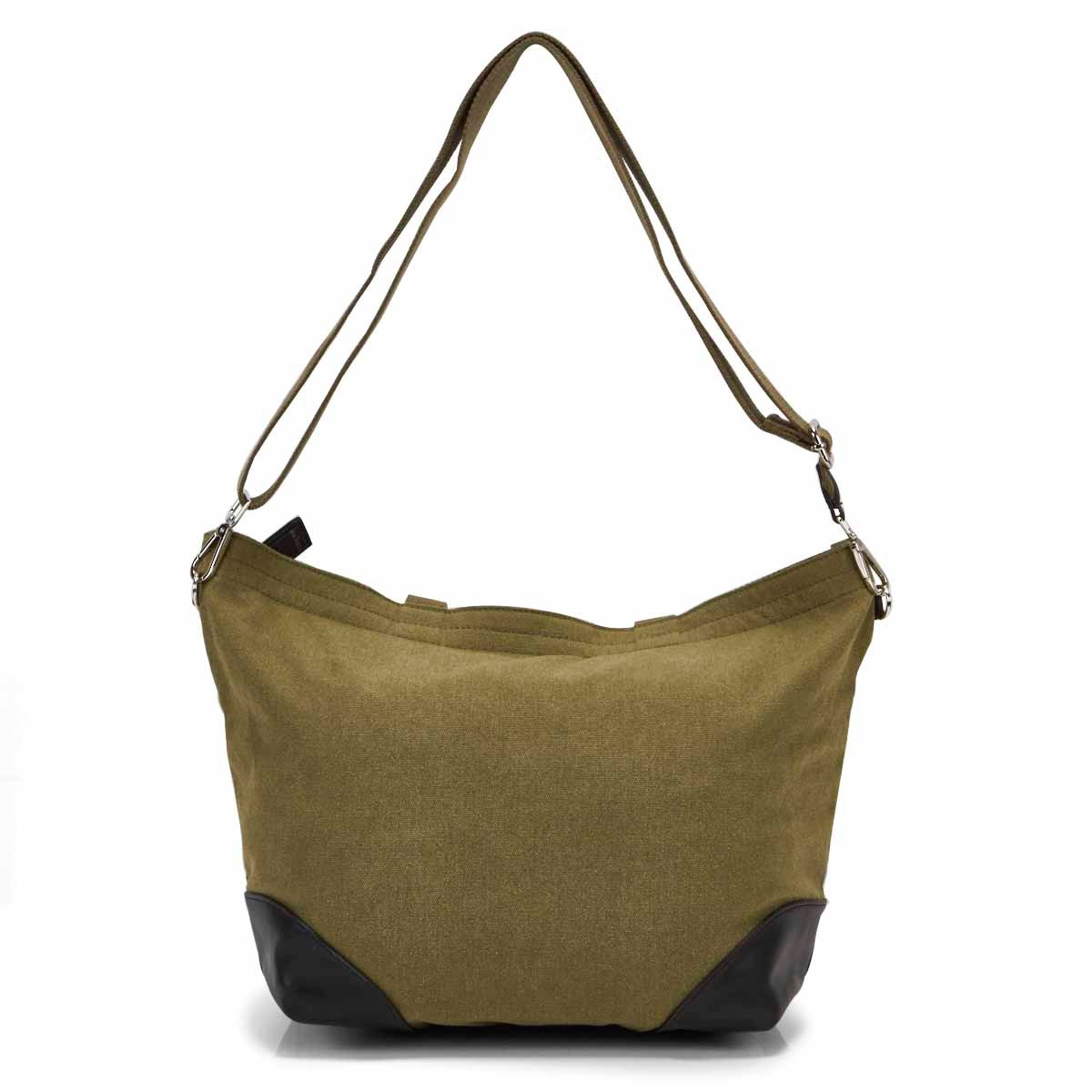 Lds khaki/black small 2 strap tote bag