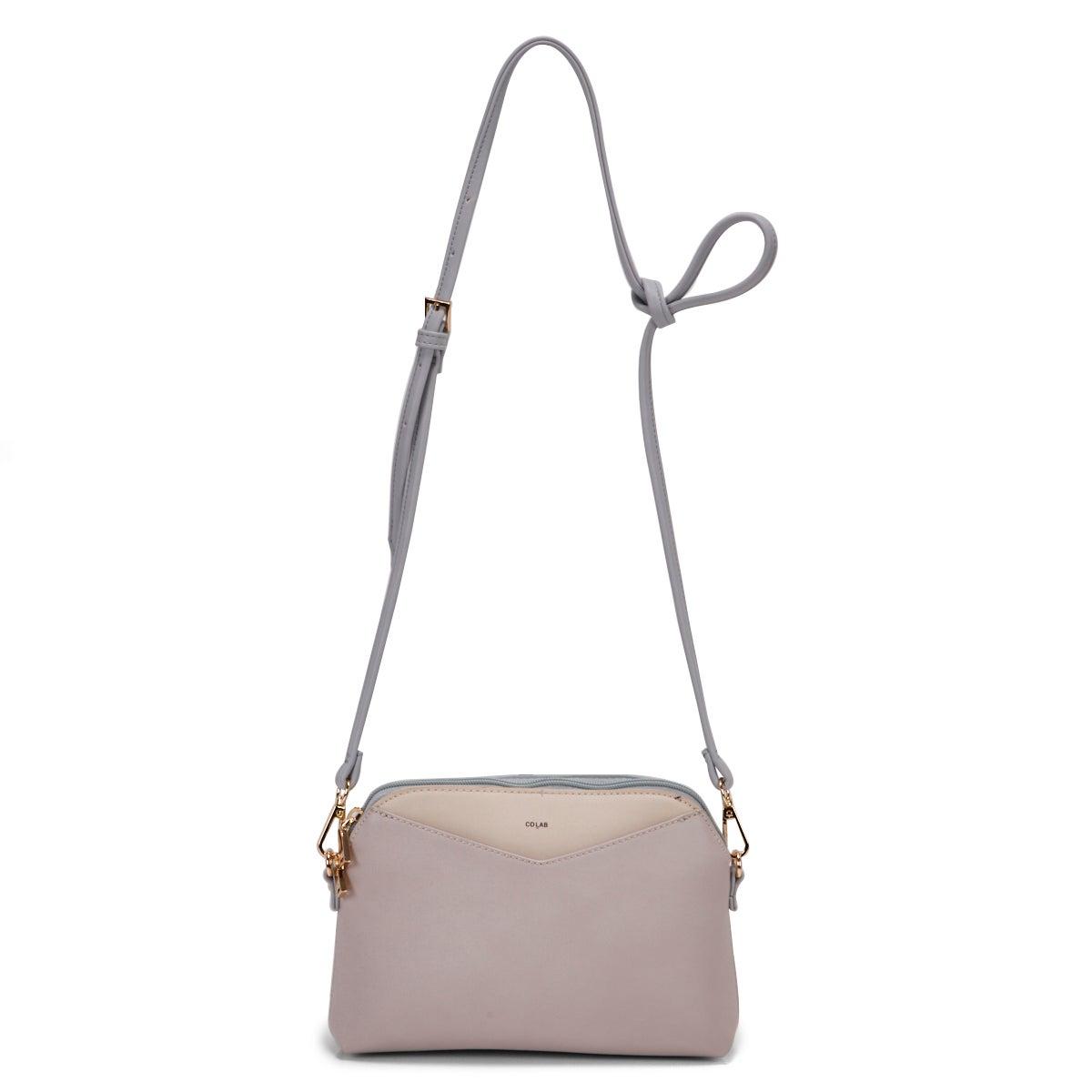 Lds pastel dual zip crossbody bag