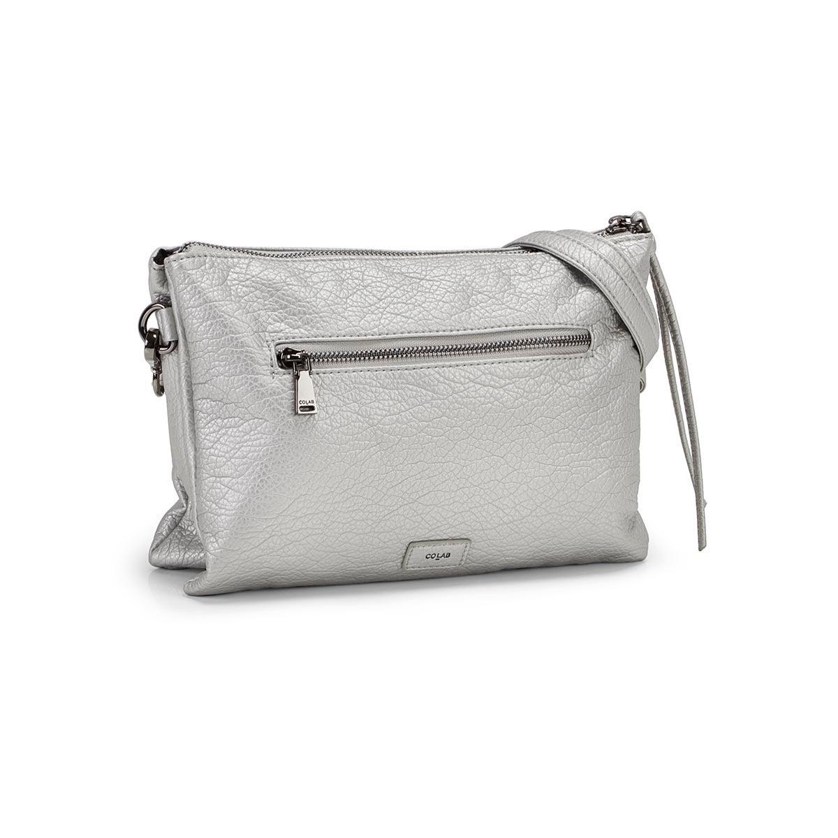 Lds silver clutch crossbody bag