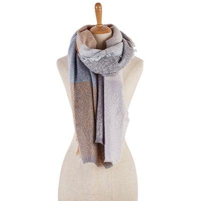 Lds Color Block Boucle lt grey scarf