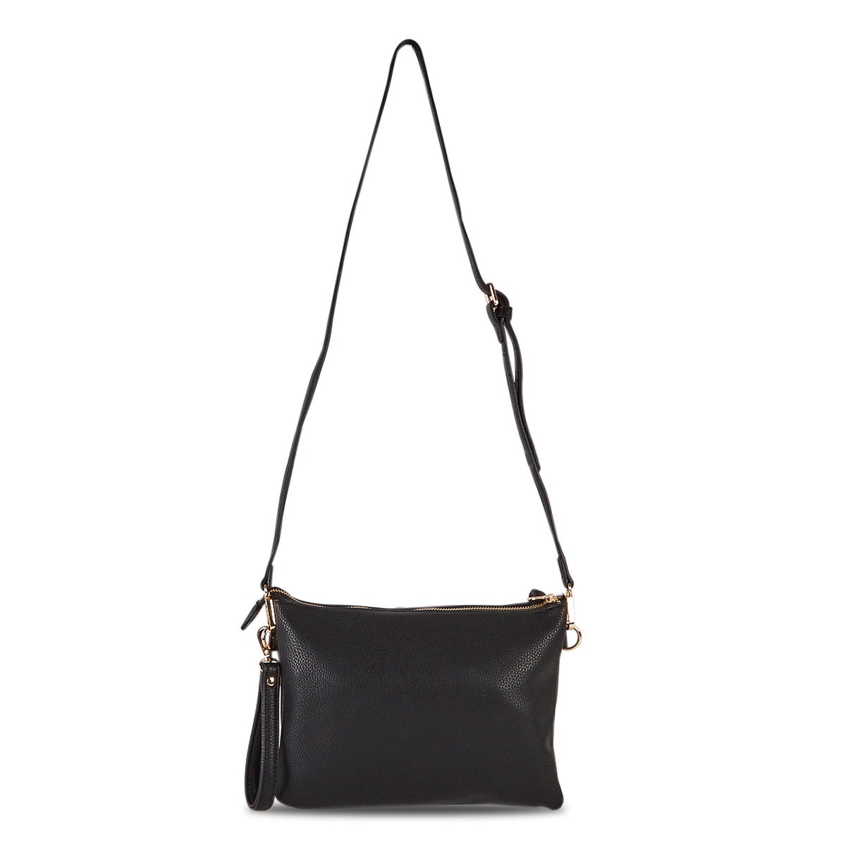 Lds blk cross body wristlet clutch