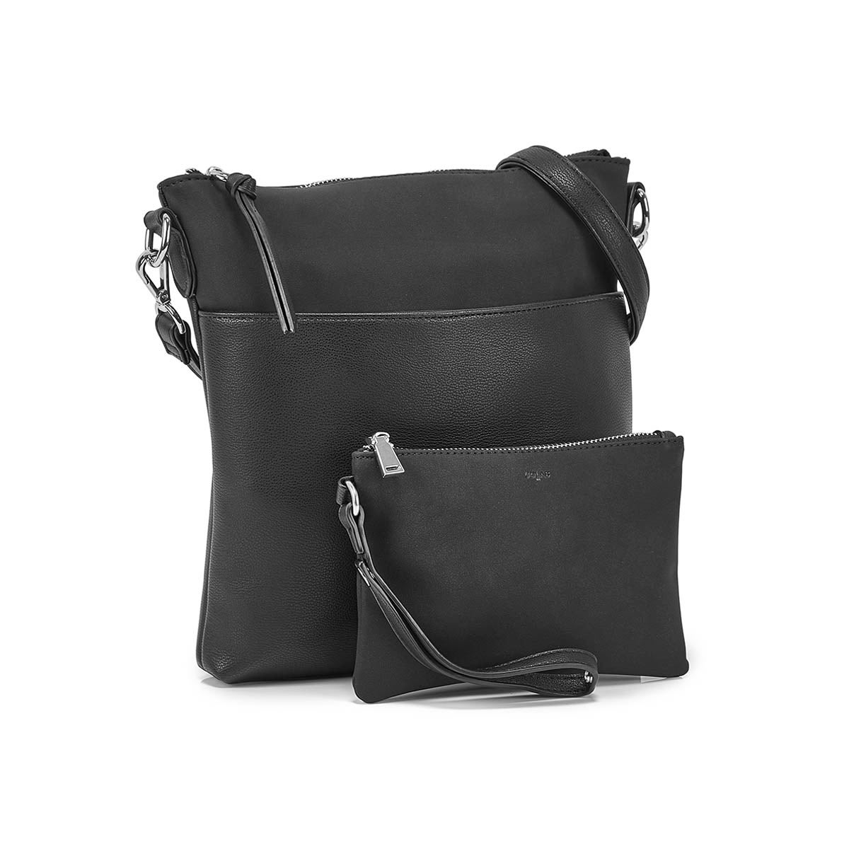 Lds black removable pouch crossbody bag