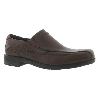 Clarks Men's MEDINA brown leather slip on dress shoes