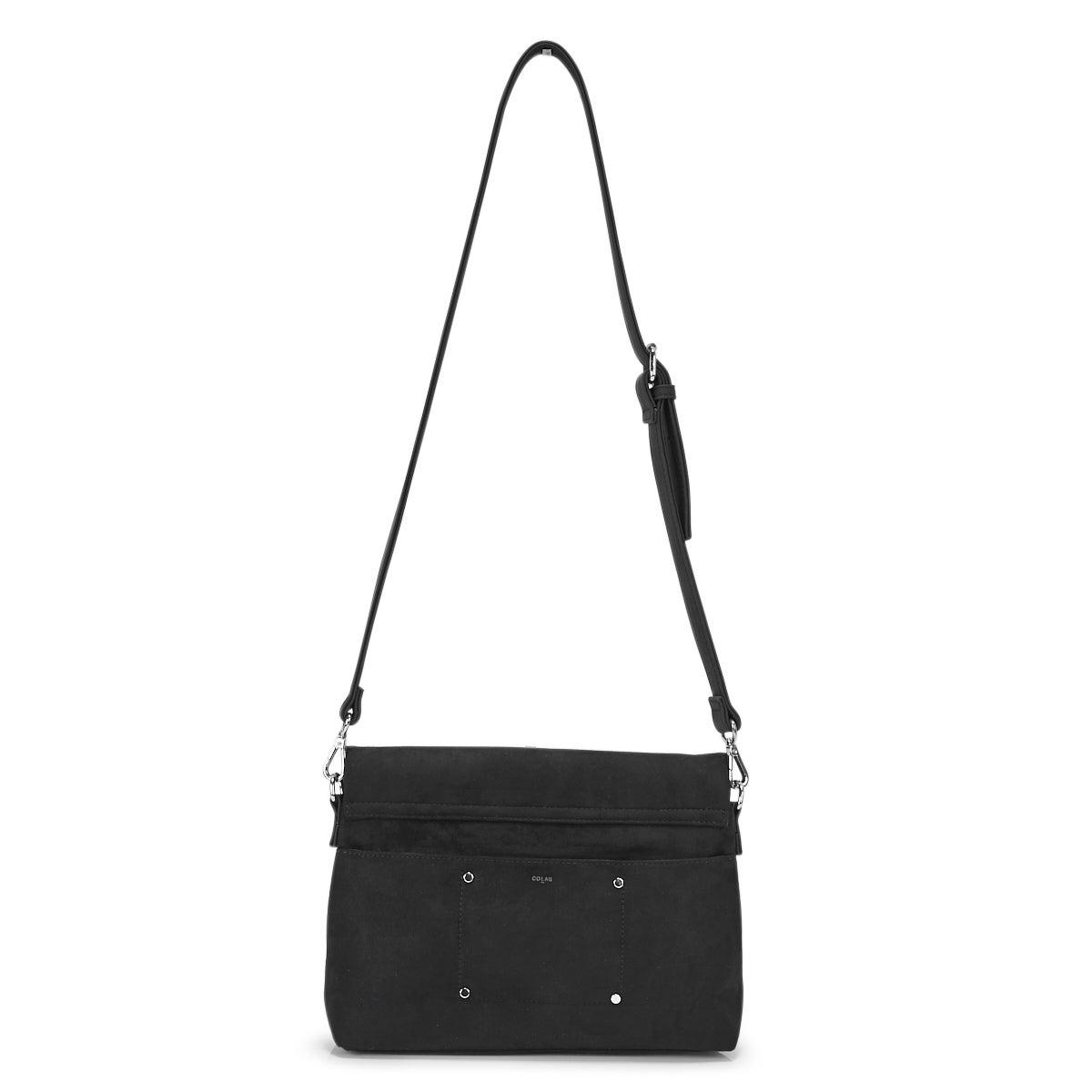 Lds black fold over flap cross body bag