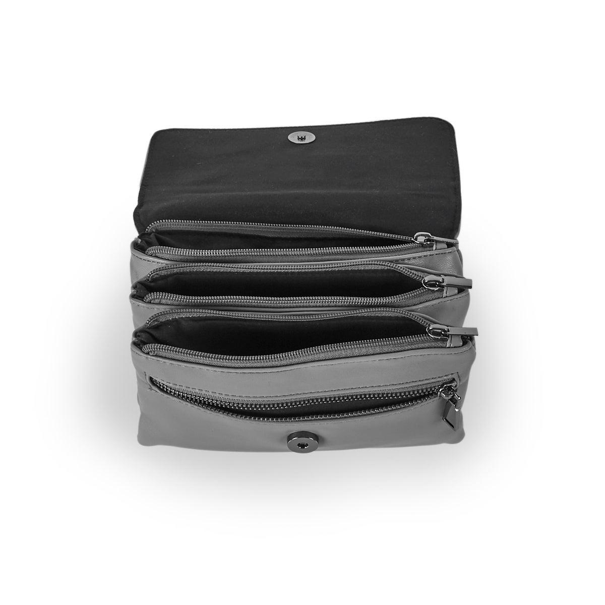 Lds Nappa Smalls grey crossbody bag
