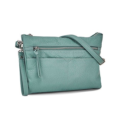 Co-Lab Women's 6347 aqua wristlet cross body clutch