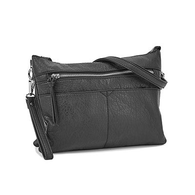 Lds blk wristlet crossbody clutch