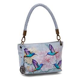Painted lthr Rainbow Birds shoulder bag