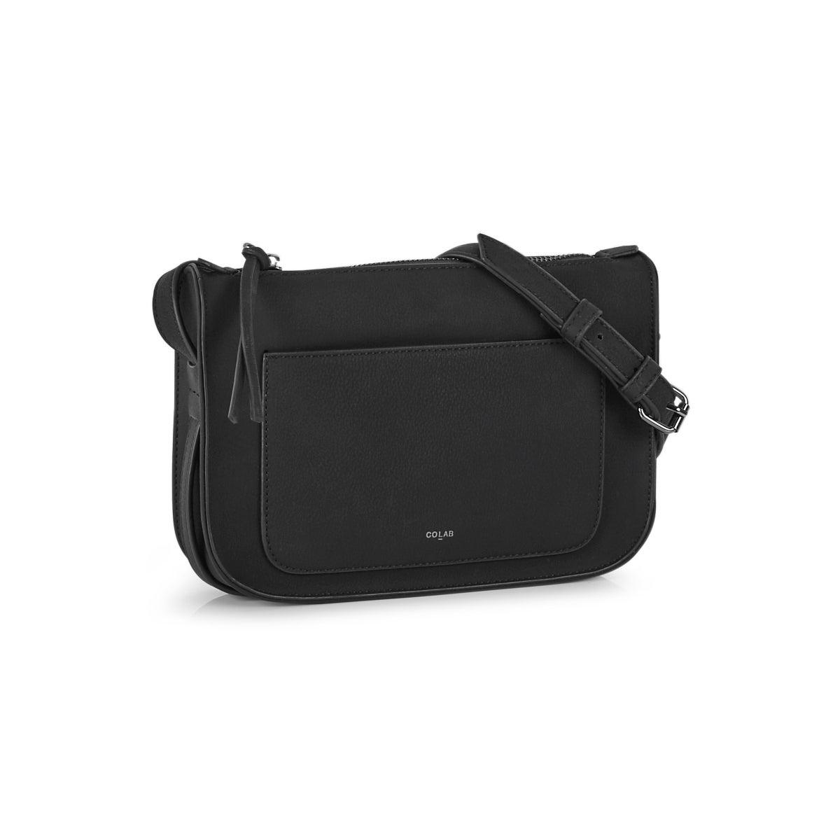 Lds black top zip cross body bag