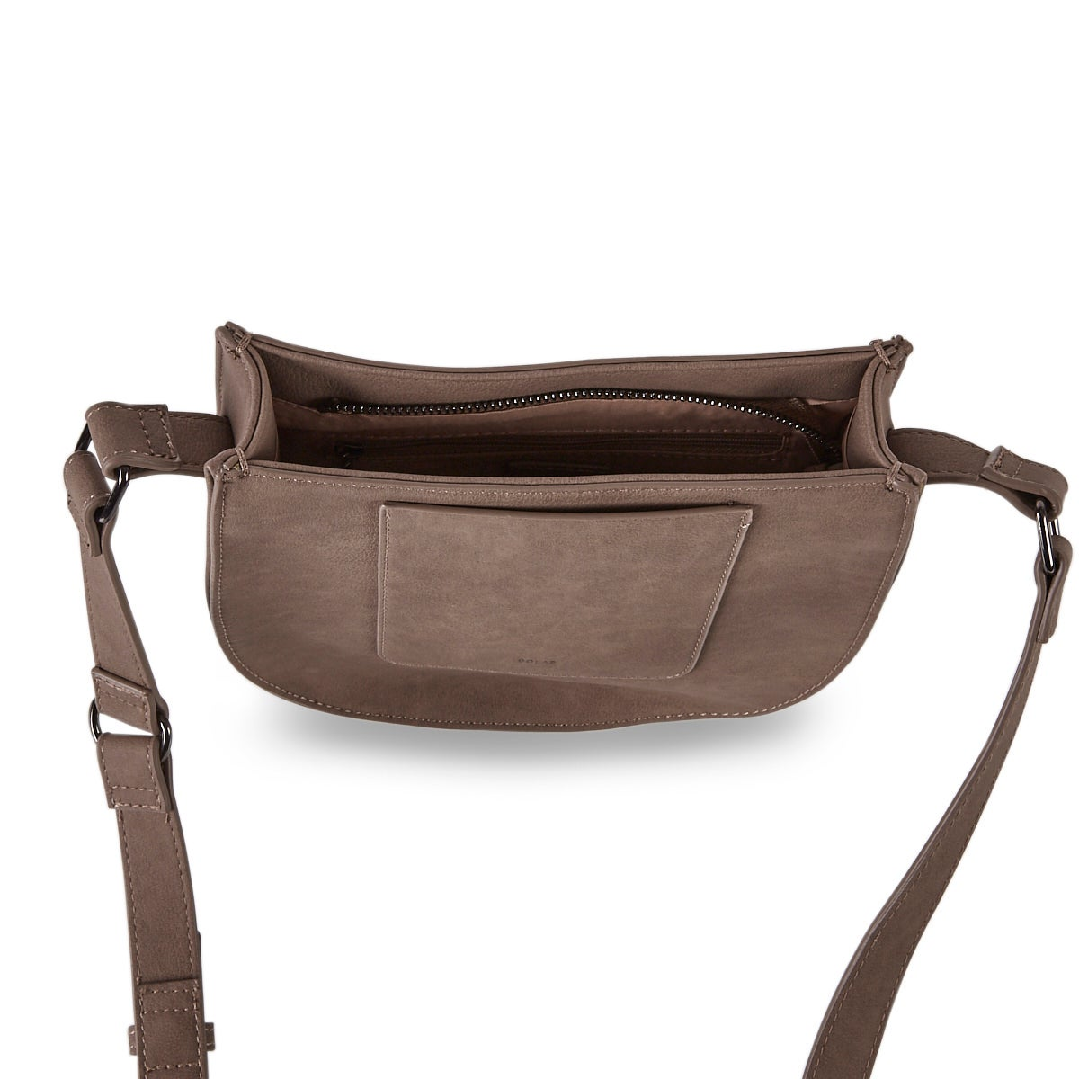 Lds chstnt top zip saddle cross body bag