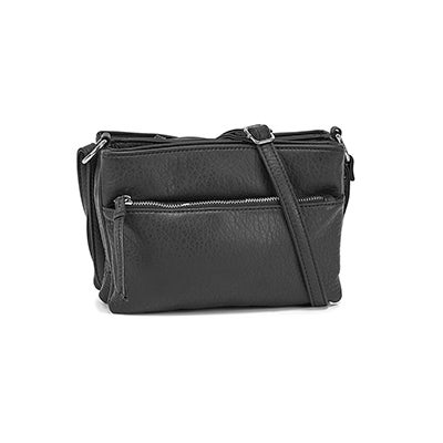 Lds blk triple crossbody bag