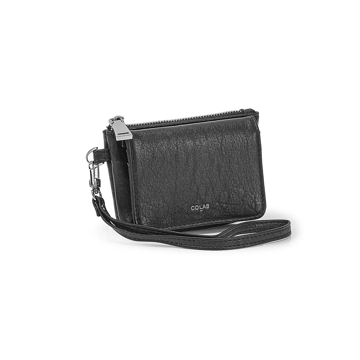 Lds blk detachable strap wristlet