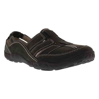 Clarks Women's HALEY STORK black slip-on shoes -Wide