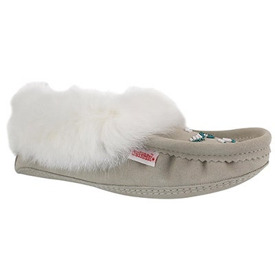 Lds ice rabbit fur moccasin